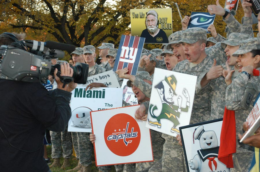 Soldiers get pumped for the camera before the live broadcast of ESPN's SportsNation