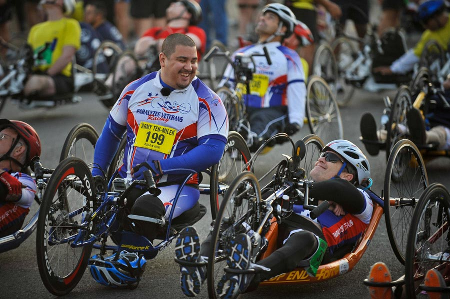 Members of the Paralyzed Veterans of America racing team participate with their handcycles in the 2011 Army Ten-Miler