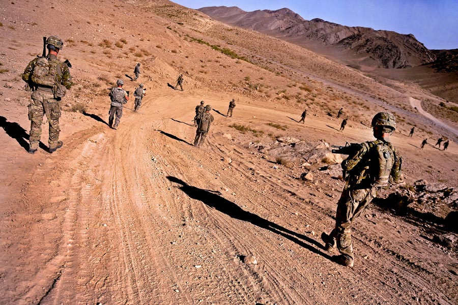 Soldiers patrol to a village in the district of Mizan, Afghanistan