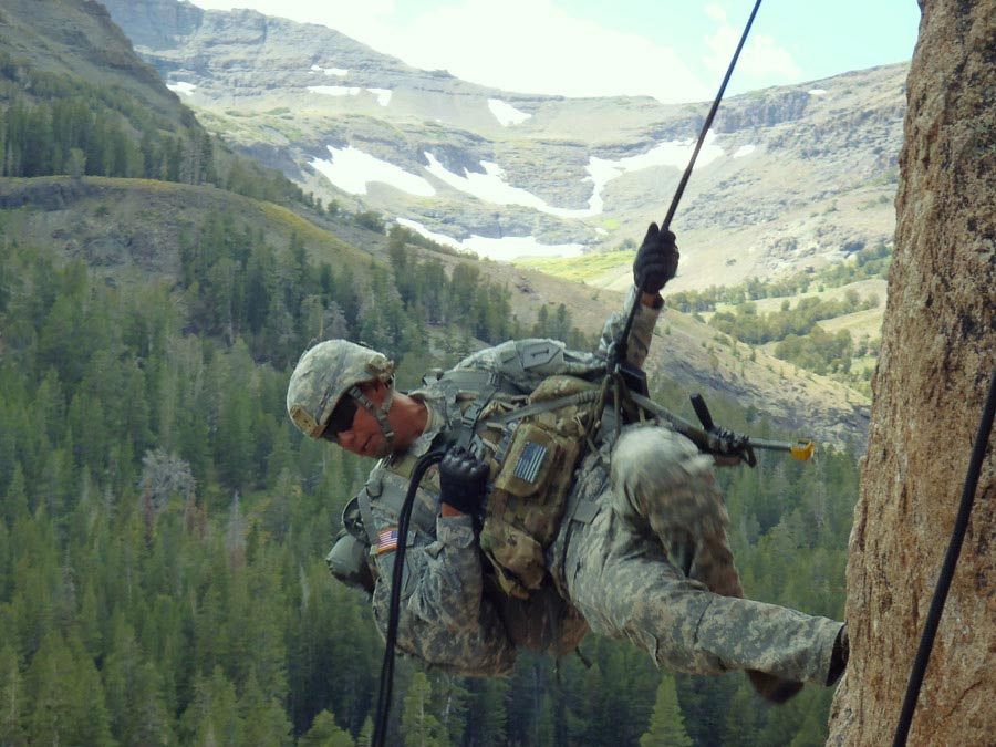 Corporal Jose Pacheco practices rappelling techniques during the basic-mobility portion of Mountain Exercise