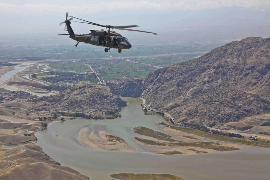 UH-60 Black Hawk Helicopter flys to Forward Operating Base Torkham