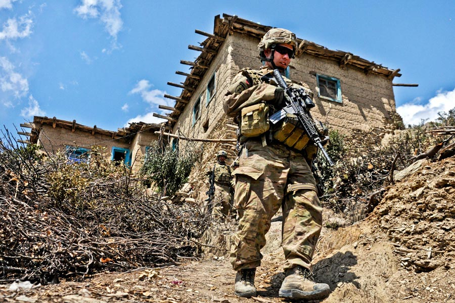 First Lieutenant Ryan Gibbons patrols in Afghanistan, during Operation Marble Lion