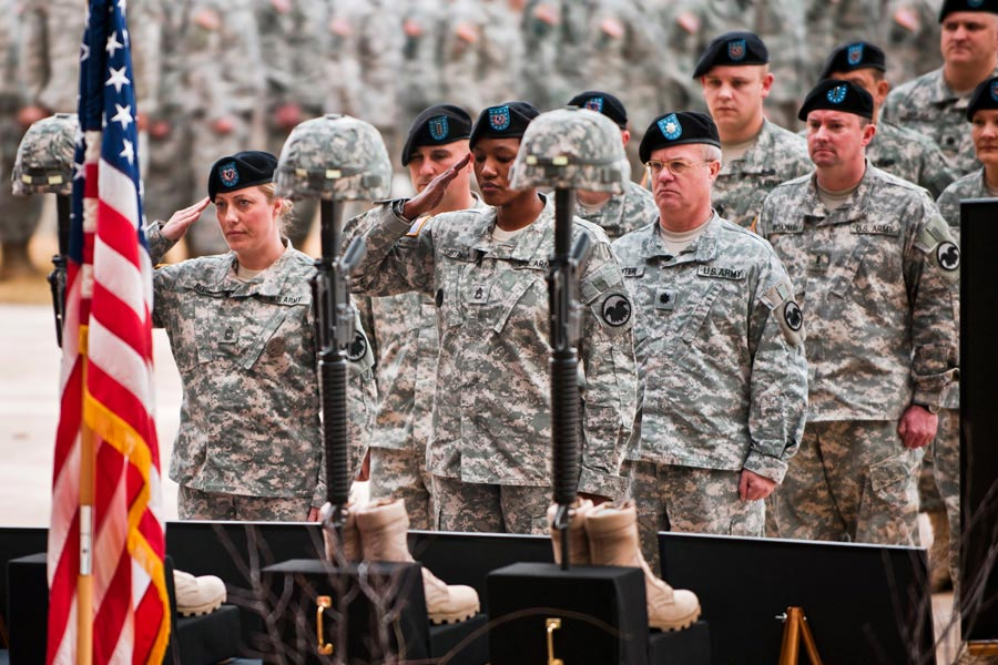 Army Reserve Soldiers render final honors at a Fallen Warrior ceremony at Fort Bragg, N.C.