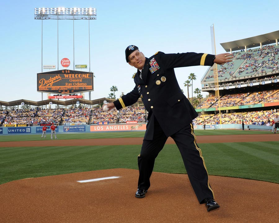 General Raymond T. Odierno, Chief of Staff of the U.S. Army, throws ceremonial first pitch at Dodger Stadium