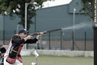Sergeant Vincent Hancock sets an Olympic record in skeet qualification with score of 123